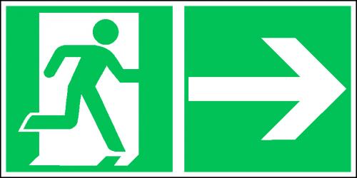 EverGlow Rettungsweg rechts ISO7010 - 30,0 x 15,0 cm