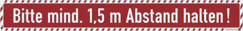 Bodenmarkierung mit Antirutschbelag - Wartebereich (rot) Bitte mind. 1,5 Meter Abstand halten!
