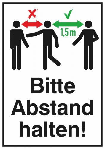 Hinweis-Kombischild Bitte Abstand halten