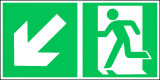 EverGlow Folie Rettungsweg links abwärts 30,0 x 15,0 cm