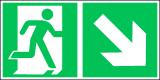 EverGlow Folie Rettungsweg rechts abwärts 30,0 x 15,0 cm
